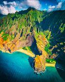 Hawaii beach, Kauai. Na pali coast aerial helicopter view from above. Hawaiian travel destinaton. Na poster