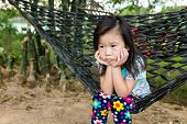 Unhappy Girl Sitting Alone In Hammock.. Outdoor On Summer Day. poster