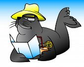 picture of family vacations  - illustration of a sea lion on vacation - JPG