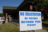 "stock photo of soliciting  - ""No solicitation of voters"" sign posted outside a polling place - JPG"