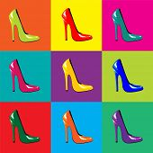 An illustration of bright, high-heel shoes on colorful tiled background. Pop-art style. Seamless. Al