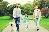 family, pet, domestic animal and people concept - happy family with labrador retriever dog walking   poster