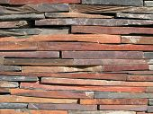 pic of fieldstone-wall  - Detail of a wall made with brick stones - JPG
