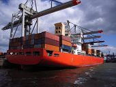 pic of container ship  - Docked container vessel at the Port of Hamburg - JPG