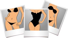 pic of striper  - Beautiful sexy girls in photo frames on a background for a design - JPG
