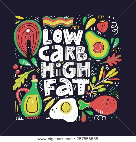 poster of Keto Diet Flat Hand Drawn Vector Illustration. Low Carb High Fat Collage Lettering. Ketogenic Eating