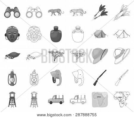 African Safari Monochrome Outline Icons