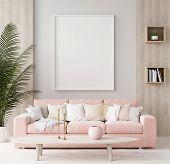 Mock Up Poster In Warm Home Interior Background, Springtime, 3d Illustration poster