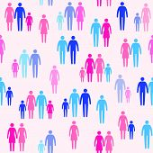 Different Family Types, Sexual Orientation And Society, Vector Seamless Pattern poster