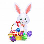 Cartoon Easter Rabbit. Cute Rabbit With Full Basket Of Colorful Easter Eggs. Can Be Used For Topics  poster