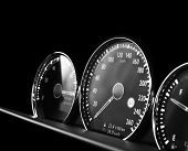 Close Up Shot Of A Speedometer In A Car. Car Dashboard. Dashboard Details With Indication Lamps.car  poster