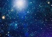 Panoramic Looking Into Deep Space. Dark Night Sky Full Of Stars. The Nebula In Outer Space. poster
