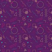 Memphis Swiss Style Seamless Pattern. Flat Geometric Isolated Vector Pattern. Bright Fun Decorative  poster