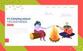 Man And Woman Character Playing Guitar Fries Marshmallow Near Bonfire In Forest Landing Page. Nature poster