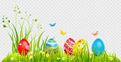 Easter Eggs Hunting And Batterflies On A Grass. Holiday Design Element Isolated For Card, Banner, Ti poster
