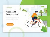 Landing Page Template Of Cycling. Vector Landing Page Concept With Young Man Cycling A Bike. Web Pag poster