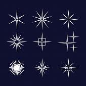 Set Of Sparkle Star, Sparkles Star Isolated Vector. Sparkle Light. Sparkling Stars. Sparkles Black S poster
