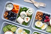 Healthy Lunch Or Snack To Go With Tortilla Wraps, Eggs, Cottage Cheese, Fruits And Vegetables poster