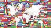 Flags Of World And Map Of World.map Of World  And World Flag Collection Used For Background Drawing  poster