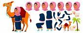 Arab, Muslim Girl Kid Vector. Animation Creation Set. Face Emotions, Gestures. Active, Joy, Leisure. poster