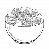 Vector Outline Plate With Ethnic Ukrainian Easter Egg Pysanka In Black Isolated On White Background. poster