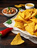 Tortilla Nachos Chips With Cheese Sauce, Guacamole And Tomatoes Salsa Dip. Lime. Chilli Pepper. poster