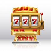 777 Jackpot Slot Machine. Golden Casino Spin, Isolated Gambling Prize Machine. Vector Realistic 3d G poster