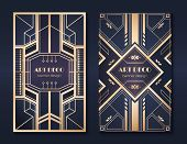 Art Deco Banners. 1920s Party Invitation Flyer, Fancy Golden Ornamental Design, Vintage Frames And P poster