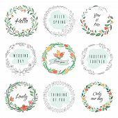 Floral Circle Doodle Frames. Circular Laurel Wreath, Flourish Monogram Borders, Hand Drawn Botanical poster