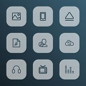 Multimedia Icons Line Style Set With Artist, Synchronize, Image And Other Equalizer Elements. Isolat poster