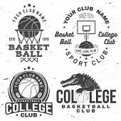 Basketball College Club Badge. Vector Illustration. Concept For Shirt, Print, Stamp Or Tee. Vintage  poster