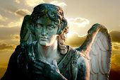 stock photo of forlorn  - detail of angel statue on sunset background - JPG