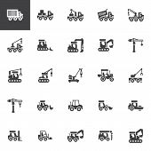 Construction Truck Vector Icons Set, Modern Solid Symbol Collection, Filled Style Pictogram Pack. Si poster