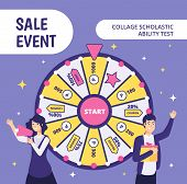 Examinees Discount Event. Sat Work Event Ability Businessman Gift High Worker College Student In Uni poster