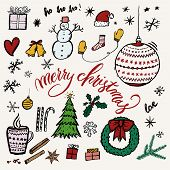 Merry Christmas Hand-drawn Illustration Elements Like Tree, Snowman, Snowflakes, Presents  And Wreat poster