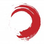Brush Red Enso Vector Design. Stroke Zen Symbol. Brush Painted Artistic Circle poster