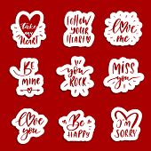Hand  Lettering Red  Patches And Stickers - Creative Set Incuding Inscriptions: Love You, Be Mine, F poster