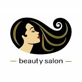 Hair Salon Logotype. Woman Silhouette. Isolated Icon For Beauty Studio, Hairdresser Salon, Spa, Cosm poster