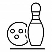 Bowling Recreation Icon. Outline Bowling Recreation Icon For Web Design Isolated On White Background poster