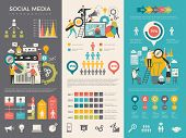 Social Media Infographic. Work People Socializing Like Rating Sharing Vector Graphic Social Design T poster