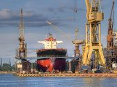 picture of shipbuilding  - An old ship in a repair shipyard - JPG
