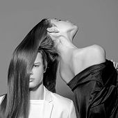 Man And Woman. Perfect Hair. Hair Style And Skincare. Beauty And Fashion. Fashion Couple In Love. Fr poster