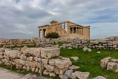 Erechtheion - Small Temple Up On Acropolis Hill With Caryatids Instead Of Columns poster