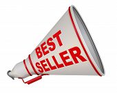 The Horn Labeled With Text Best Seller. Red Text Best Seller On The Gray Horn. Isolated. 3d Illustra poster