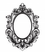 Baroque Mirror Frame. Vector French Luxury Rich Intricate Ornaments. Victorian Royal Style Decors poster