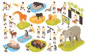 Isometric Zoo Set With Isolated Images Of Animals Human Characters Of Personnel And Animal Park Item poster