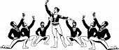 stock photo of lap dancing  - sketch male ballet dancers sitting in a pose around the soloist - JPG