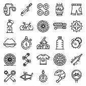 Cycling Equipment Icons Set. Outline Set Of Cycling Equipment Vector Icons For Web Design Isolated O poster