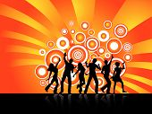 stock photo of party people  - Silhouettes of people dancing on retro styled background - JPG