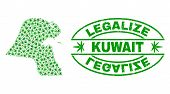 Vector Marijuana Kuwait Map Collage And Grunge Textured Legalize Stamp Seal. Concept With Green Weed poster